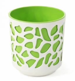Кашпо Дуэт, D190, кремовый с зеленой вставкой, пластик, LA761-36 фото