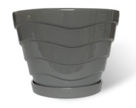 Горшок Конус с волнами, 2л, серый, Р252 фото
