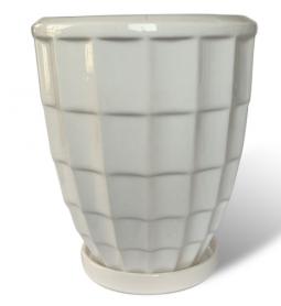 Горшок Рельеф квадраты, 1,7л, белый, Р268 фото