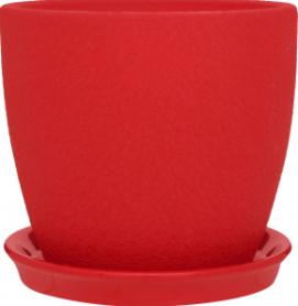 Горшок Сонет 13 * 12,5 * 1,0 шелк красный, керамика, 4445 фото