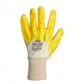 Перчатки вязаные х/б (гладкий желтый нитрил), 4523 фото