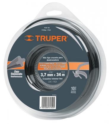 Струна для триммера 3.7мм, 34м круглая, Truper, HLB-155 фото