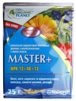 Комплексное минеральное удобрение Master+ (Мастер+), 25г, NPK 13.40.13, Valagro (Валагро) фото