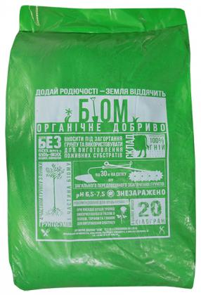 Органическое удобрение БИОМ, 20кг фото