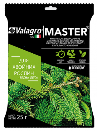 Комплексное минеральное удобрение для хвойных растений Master (Мастер), 25г, NPK 18.18.18, Весна-Лето, Valagro (Валагро) фото