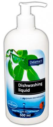 Бесфосфатное средство для мытья посуды с эфирным маслом розы, 0.5л, Royal Powder фото