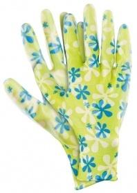 Перчатки садовые из полиэстера с нитриловым обливом, зеленые, размер S , Palisad, 677418 фото