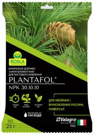 Комплексное минеральное универсальное удобрение для хвойных и вечнозеленых растений, Plantafol (Плантафол), 25г, NPK 30.10.10, TM ROSLA (Росла) фото