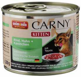 Влажный корм для котят Animonda Carny с говядиной, курицей и кроликом, 200г фото