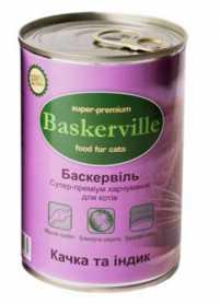 Влажный корм для котов Baskerville с уткой и индейкой, 400г фото