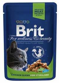 Влажный корм для стерилизованных котов и кошек Brit Premium Cat Chicken Slices for Sterilised паучи с курицей, 100г фото