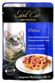 Влажный корм для кошек Edel Cat с лососем и форелью в соусе, 100г фото