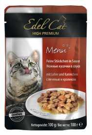 Влажный корм для кошек Edel Cat с печенью и кроликом в соусе, 100г фото