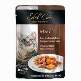 Влажный корм для кошек Edel Cat со вкусом гуся и печени в желе, 100г фото