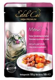 Влажный корм для кошек Edel Cat с лососем и камбалой в желе, 100г фото