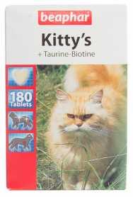 Лакомство для кошек Beaphar Kitty's + Taurine-Biotine, 180табл.  фото