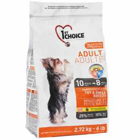 Сухой корм для взрослых собак декоративных и мелких пород 1st Choice Toy&Small Adult Chicken со вкусом курицы, 2,72кг фото