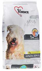 Сухой корм для взрослых собак всех пород 1st Choice Hypoallergenic со вкусом утки и картошки, гипоаллергенный, 12кг фото