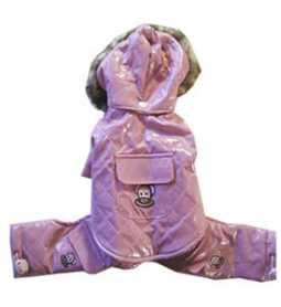 Комбинезон с капюшоном для собак Pink Vinyl Jumper MonkeyDaze, винил, розовый, XXS фото