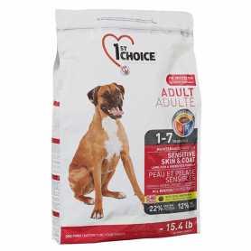 Сухой корм для взрослых собак всех пород 1st Choice Sensitive Skin&Coat Adult Lamb&Fish со вкусом ягненка и океанической рыбы, 15кг фото