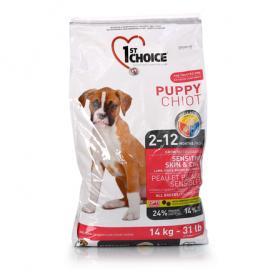 Сухой корм для щенков всех пород 1st Choice Puppy Sensitive & Skin Coat со вкусом ягненка и океанической рыбы, 14кг фото