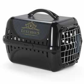 Переноска для кошек c металлической дверцей и замком Trendy Runner Luxurious Pets Moderna, черный, 49,4х32,2х30,4см фото
