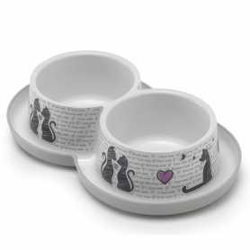 Двойная миска для кошек Moderna Double Trendy Dinner Cats in Love пластиковая с защита от муравьев, светло-серая, 2х350мл, d-10см фото