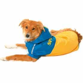 Cпортивный плащ-дождевик для собак Raincoat 2in1 Dog Karlie Flamingo, жёлто-голубой, длина 40см фото