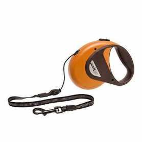 Поводок рулетка для собак DogxToGo Cord Karlie Flamingo, S, до 12кг, оранжевый, с ручкой и кнопкой блокировки, светоотражающий шнур, 8м фото