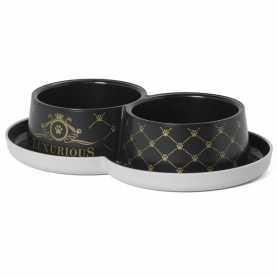 Двойная миска для кошек из пластика Moderna Double Trendy Dinner Luxurious Рet с защитой от муравьев, черная, 0.7л, d-10 фото