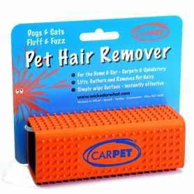 Щетка от шерсти животных с одежды, мебели, автомобиля Pet Hair Remover CarPET, оранжевый, 12х4х4см, 75г фото
