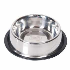 Миска для собак с резиновым ободком Dish Rubber Rim Karlie Flamingo, нержавейка, 0,71л, d:15см фото