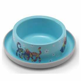 Миска для кошек с защитой от муравьев Trendy Dinner №1  Friends Forever Moderna, пластиковая, ярко-голубая, диаметр 16см, 350мл фото