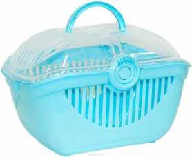 Переноска для мелких домашних животных Top Runner Moderna, пластиковая, ярко-голубая, 39х29х25см фото