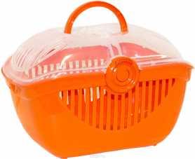 Переноска для мелких домашних животных Top Runner Moderna, пластиковая, оранжевая, 39х29х25см фото