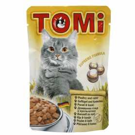 Влажный корм для кошек TOMi консервы, птица, кролик, пауч, 0.1кг фото