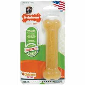 Игрушка кость для собак до 16кг Nylabone Flexi Chew Wolf, жевательная, вкус курицы  фото