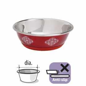 Миска для собак и кошек пищевая нержавеющая сталь красная 350мл фото