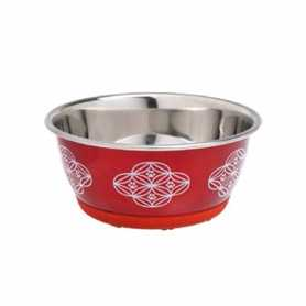Миска для собак и кошек пищевая нержавеющая сталь красная Flamingo Bowl Selecta Red,  500мл фото