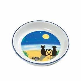 Миска для собак и кошек керамика с романтическим рисунком котов под луной Flamingo Cat&Moon, 200мл фото