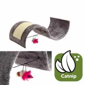 Когтеточка для кошек игровая площадка с игрушкой волна плюш Flamingo Kitty Wave, 54х30х15см фото