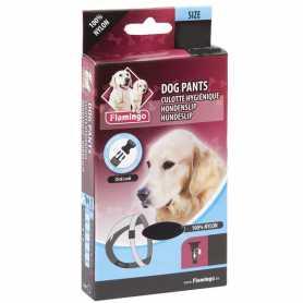 Трусы для собак гигиенические Flamingo Jolly, черные, с застежкой на поясе, с комплектом прокладок, 40х49см, 3 фото
