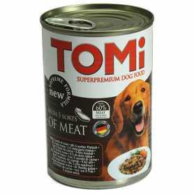 Консервы для собак TOMi 5 kinds of meat, супер премиум корм, 5 видов мяса, 1,2кг фото