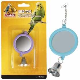 Игрушка для попугаев круглое зеркало с колокольчиком Flamingo Mirror Round+Bell, 6см фото