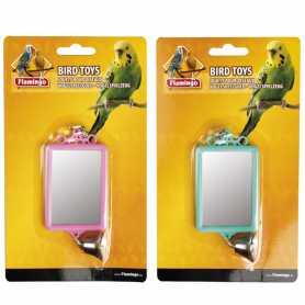 Игрушка для попугаев квадратное зеркало с колокольчико Flamingo Mirror Straight+Bell, 6х8см фото