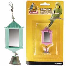 Игрушка для попугаев зеркало фонарик с колокольчиком Flamingo Lantern With Bell, 4х4х6см фото