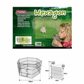 Вольер для животных Flamingo Hexagon, металл, 6 панелей, 100х100х60см фото