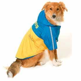 Cпортивный плащ-дождевик для собак Raincoat 2in1 Dog Karlie Flamingo, жёлто-голубой, длина 32см фото