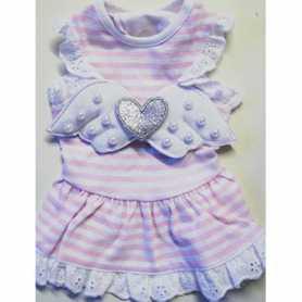 Одежда для собак MonkeyDaze Angel Wing Pink, розовое платье в белую полоску, XS фото