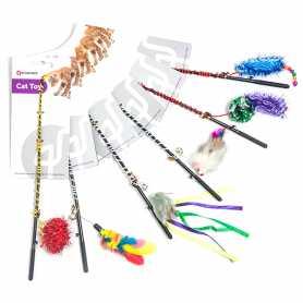 Игрушка для кошек удочка дразнилка с игрушкой Flamingo Fishing-Rod, 5х60см фото